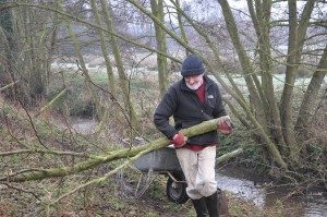 "Robin ""The Hulk"" Combe with some woody debris to be installed in the channel"