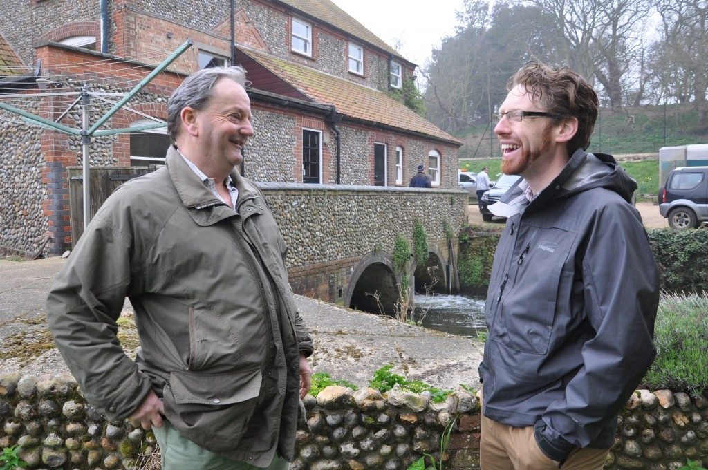 Willie Brownlow (L) and Adam Piper (R) at Glandfird Mill. Adam Piper from the Institute of Zoology (ZSL) and the Environment Agency is about to start some research on eel migration through the Glaven system.